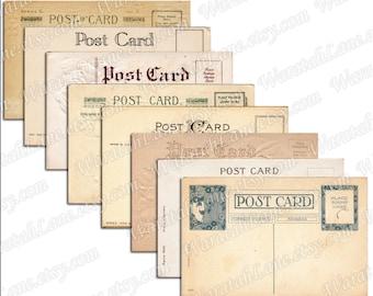 Blank Postcards Digital Collage Sheet Printable Postcard Tags Old Postcards Vintage Postcards Collage Sheet Notecards Wedding Tags