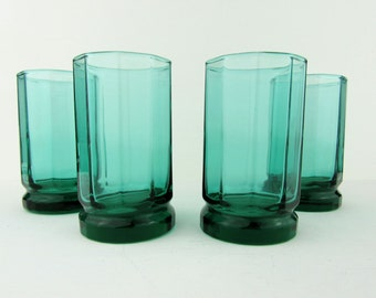 "Set of 4 Vintage Anchor Hocking Emerald Green Glass Juice Glasses Drinkware 4"" tall~Retro Kitchen Kitsch"