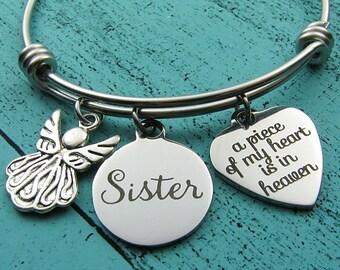 sister memorial gift, remembrance jewelry, sympathy gift, memorial bracelet, loss of sister bracelet, in memory of sister, loss of loved one