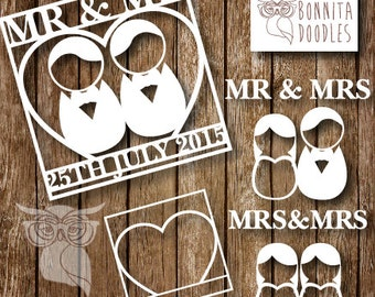 Kawaii Wedding Personal and Commercial Elements cutting template
