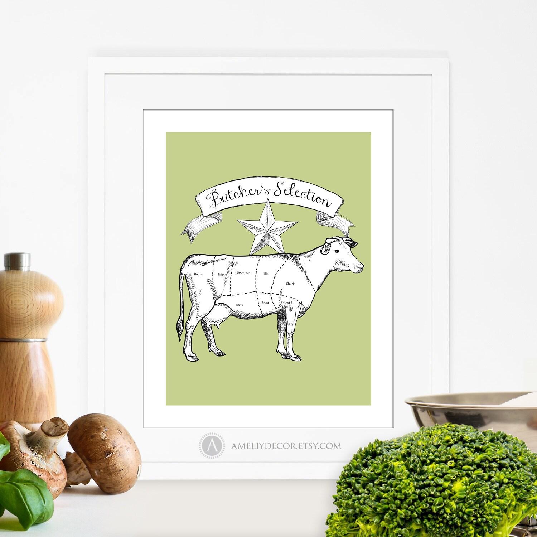 Printable Butcher Poster Kitchen Decor Butcher Chart Cow