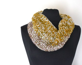 Snood Scarf 50% OFF Wool Infinity Crochet Chunky Cowl Multicolored Loose Fit Scarf One of a Kind