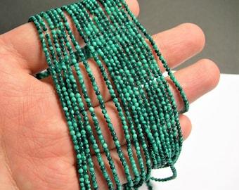Malachite - 2 mm round beads -1 full strand - 198 beads - Reconstituted - PG34