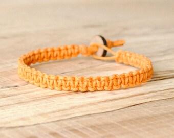 Orange hemp bracelet, hemp anklet, hemp jewelry, beach anklet, hippie gifts, boho jewelry, surfer bracelet, surfer jewelry