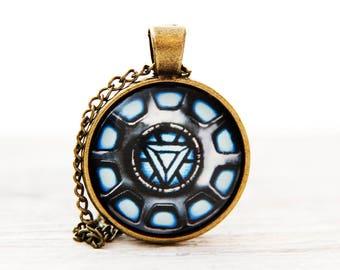 Iron man necklace, iron man pendant, iron man arc reactor, iron man jewelry, arc reactor pendant, arc reactor necklace, tony stark necklace