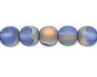 Czech Glass Druk 8mm - Pack 20 Beads - Frost Iris Blue
