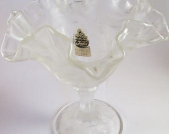 "Vintage Strawberry Crystal Velvet 6.25"" Tall Fenton Pedestal Compote Comport Candy Nut Dish"