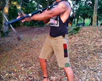 MENS PATCHWORK SHORTS Tan Corduroy Handmade Upcycled Shorts Hippie Patchwork Shorts Men's Shorts Grateful Dead Festival Shorts Cords 35
