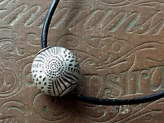 Reversible Necklace, Carved Silver, Leather With Bead, Wabi Sabi Jewelry
