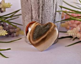 Carved Polychrome Jasper Crystal Heart