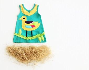 Girl's Dress, BIRD Dress, BIRD Clothing, Handmade Clothing, Applique Dress, Applique Clothing, Aqua Dress, Children's Dress