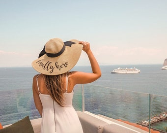 Personalized Mrs. Floppy Hat Phrase Hat Sayings Hat Cruise Bridal Shower Retirement Beach Monogram Statement Hat