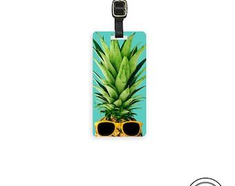 Luggage Tag Pineapple with Sunglasses Metal Luggage Tag With Printed Custom Info On Back, Single Tag