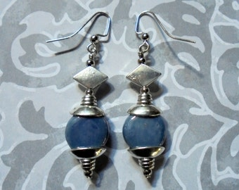 Denim Blue and Silver Boho Earrings (3064)