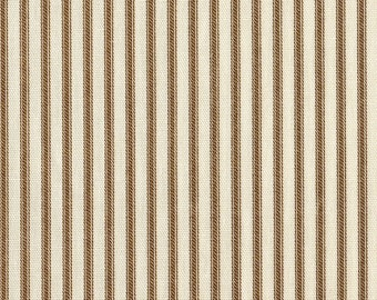 Round Tablecloth Suede Brown Ticking Stripe