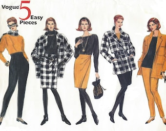 90s Vogue Sewing Pattern 2754 Womens Jacket, Tops, High Waisted Skirt and Pants & Leggings Size 18 20 22 Bust 40 42 44 FF 5 Easy Pieces