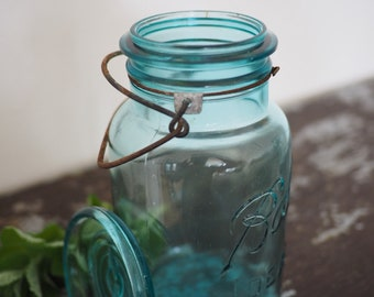 Blue Ball mason jar, rustic,