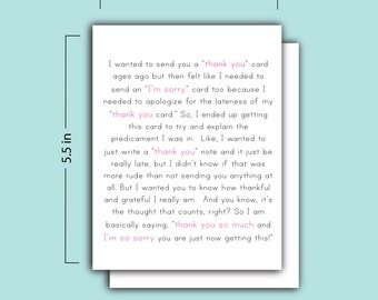The Thank You and I'm Sorry Card