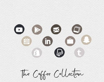 Coffee Social Media Icons , Brown Social Media Icons , Neutral Social Media Icons , Blog Accessories , Website Elements , Neutral Branding
