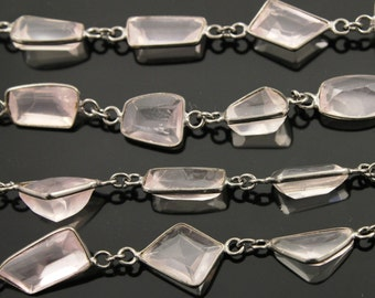 Rose Quartz Fancy Bezel Chain,Rose Quartz l Fancy Shape Connector linked sold in Sterling Silver w/ Antiques Finish,(GMC-BZ-315)