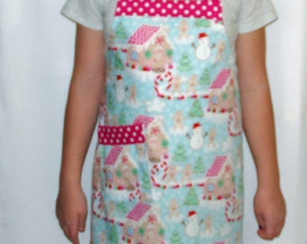 Petite Size Christmas Apron, Gingerbread House, Customized Personalized Gift, With Name, No Shipping Fee, Ready To Ship TODAY 1131