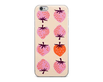 Yours Truly Strawberries in Peach - iPhone 5/5s/Se, 6/6s, 6/6s Plus Case