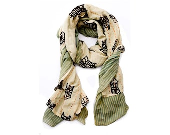 Silk scarf scarves SAMPLE SALE scarf hand printed hand dyed wholesale scarves natural dye Cotton/Silk scarf women accessories - AMSTERDAM