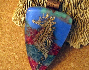 Fused Glass Seahorse Pendant Image Pendant Seahorse Jewelry Fused Glass Jewelry Glass Pendant