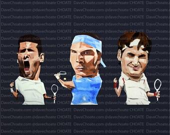 Novak Djokovic, Rafael Nadal and Roger Federer Art Photo Print