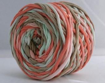 T Shirt Yarn, Hand Dyed, Tan/Coral/Mint, 60 Yards, Jersey Yarn, Cotton Yarn, Upcycled Yarn, Chunky Yarn, Mint Yarn, Coral Yarn, Tan Yarn