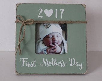 First Mother's Day Frame, Mother's Day Gift, Green Picture Frame, Gift for Mom, Mommy, Mother