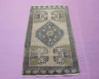 "1'10"" x 3'4"" Turkish Oushak Rug, Small Size Rug, Doormat Rug"
