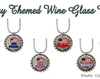 Wine glass charms Eight or 4 Military themed Wine Glass Charms. Always know which glass is yours