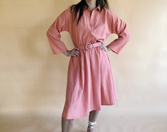 70s/80s Belted Dolman Sleeve Dress Size Small Medium
