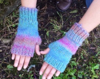 Knit Fingerless Gloves in Mauve and Teal - Knit Handmade Fingerless Gloves Fingerless Mittens - Arm Warmers - Wrist Warmers -