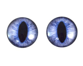 20mm Blue Cat Glass Eyes Pair of Cabochons - Cat or Dragon Eyes for Doll or Jewelry Making - Set of 2