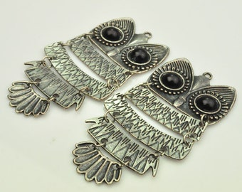 2PC Classic Style Antiqued Silver Owl Pendant, Silver Owl, Antique Silver Owl Pendant,Jewelry component, Jewelry making--98x47mm