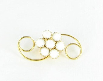 Gold Tone Milk Glass Swirled Brooch Pin Vintage Prong Set
