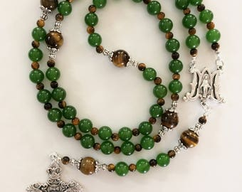 Green Jade Rosary, Emerald Green Miraculous Medal Rosary, Immaculate Conception Rosary, Tiger's Eye Rosary, Large Green Catholic Rosary