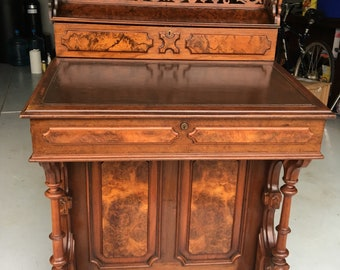 Exquisite 1870 Victorian Walnut Davenport desk 30.5w22.5d30h32h39h51h shipping is not free