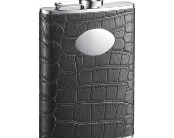 Personalized Flask, 8oz.Black Leather Stainless Steel Flask, Groomsmen Gifts, Birthday Gift, Father's Day Gift, Anniversary Gift •  VF1215