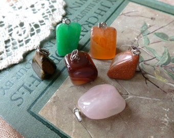 6x Mix Stone Beautiful Pendants, Lucky Dip MIxed Semi Precious Stone Pendants