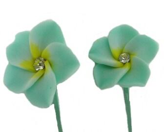 Green Flower Hair Pins, Bobby Pins, Floral Hair Accessories, Plumeria Hair Flowers for Wedding, Prom