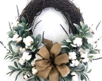 Lambs Ear Wreath, Farmhouse Wreath, Cotton Boll Front Door, Preserved Cotton Boll Year Round Wreath, Year Round Door Decor