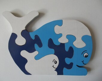 Puzzle wooden pattern whale and her cub