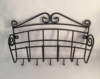 Wrought Iron Black Metal Letter Holder with a Slot for Letters and 5 Key Hooks on Bottom, Scroll Detail, Unique Wall Mount Mail Holder,