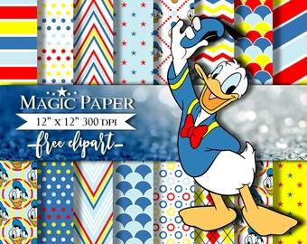 Donald Duck Digital Paper Clipart Scrapbook Instant Download