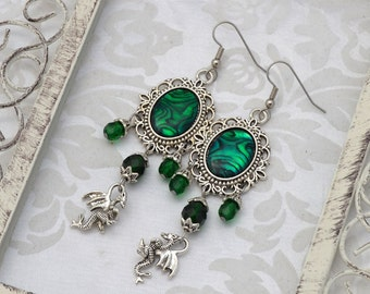 Dragon Earrings | Mother of Dragons | Green Medieval Earrings, Emerald Green Earrings, Chandelier earrings, Renaissance fantasy earrings