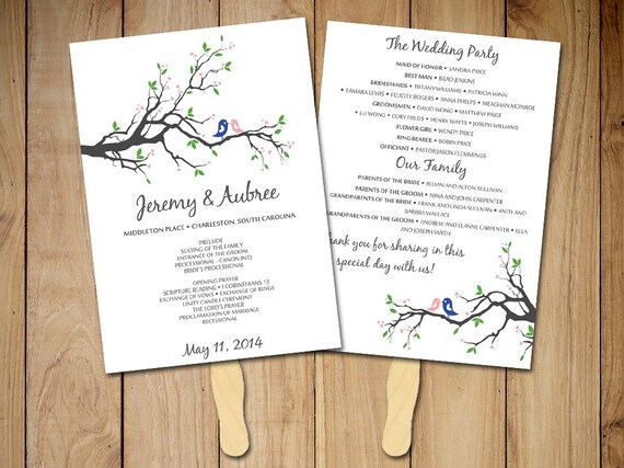 diy wedding program fan template rustic ceremony program