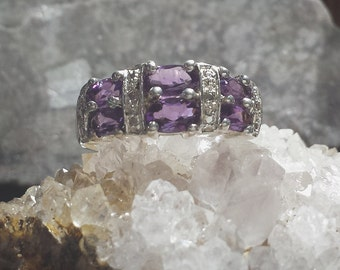 Purple Amethyst & Sterling Silver Art Nouveau Style Estate Ring Size 7 / Marquise Cut Amethysts in Sterling Silver Estate Ring Size 7